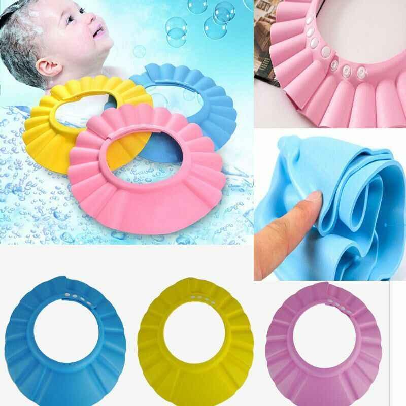 2020 nuevo bebé niños champú seguro baño ducha gorra sombrero lavado de pelo protector de Pelo elástico ajustable gorro de champú