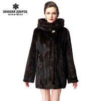 Kurze nerz mantel mit kapuze, Mode Dünne Kurze nerz mantel, Echtes Leder, Braun, nerz pelz mantel aus natürlichen, frauen echten pelz mantel