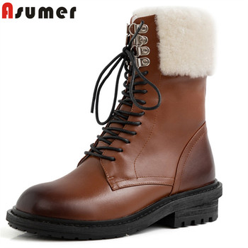 ASUMER 2020 hot sale genuine leather shoes women ankle boots lace up thick fur winter shoes vintage warm snow boots woman