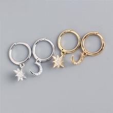 XIYANIKE 925 Sterling Silver Asymmetrical Star Moon Hoop Zircon Earrings Women Punk Rock Jewelry Accessories Elegant Couple Gift