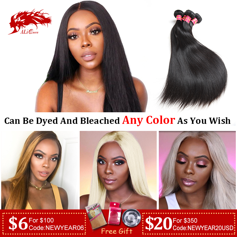 Ali Queen Hair Brazilian Virgin Hair Straight Bundles Natural Black Color 100% Human Hair Weaving 6