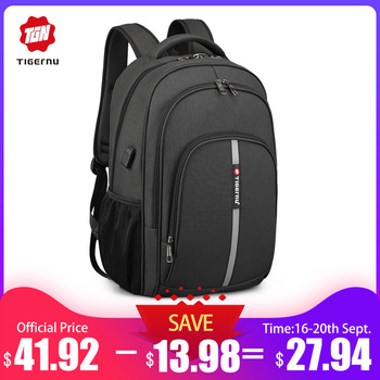 Tigernu Backpack Male Large Capacity Water Resistant Laptop Backpacks 15.6 Inch Travel Bag with Reflective Stripe USB Charging