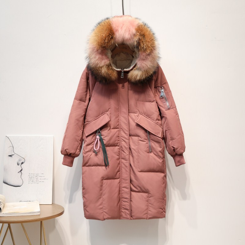 Coat Winter Women 90% White Duck Down Jacket Women Fox Fur Collar Down Coat Puffer Jacket Warm Parka Casaco 1929 YY1417