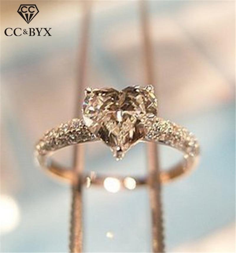 Heart Rings For Women Bridal Wedding Fashion Jewelry Engagement Ring Cubic Zirconia Elegant Anel Bijoux Femme CC048 1