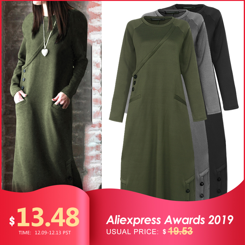 Celmia Women Sweatshirt Dress 2019 Autumn Winter Fleece Maxi Long Dress Casual Pullovers Long Sleeve Button Basic Vestidos 5XL 7