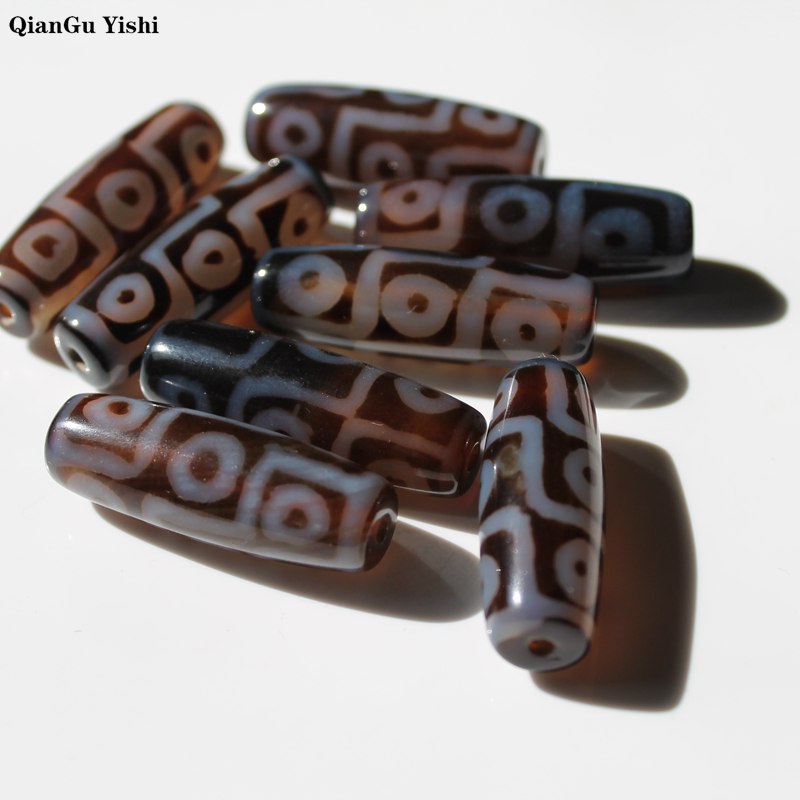 Vintage Jewelry Brown Oval Rice Geometric Natural Tibetan Dzi Agates Stone Beads Nine-eyed Antique Agata Beads For Women Men