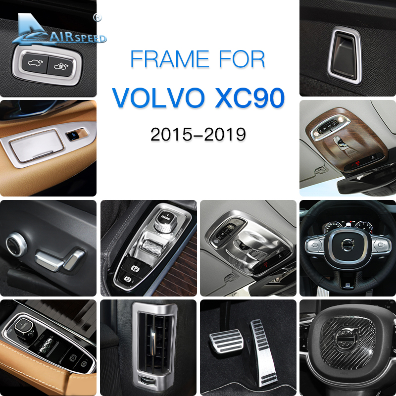 AIRSPEED Chrome ABS Stainless Steel for <font><b>VOLVO</b></font> <font><b>XC90</b></font> <font><b>Accessories</b></font> 2015 <font><b>2016</b></font> 2017 2018 2019 Car Decoration Sticker Interior Moulding image