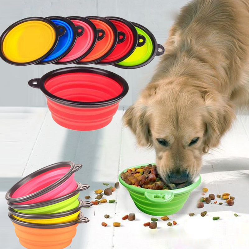 ZOLLOR Portable Travel Bowl For Dog Water Food Container Collapsible Silicone Multi-function Pet Folding Bowl Dog Feeder On Sale
