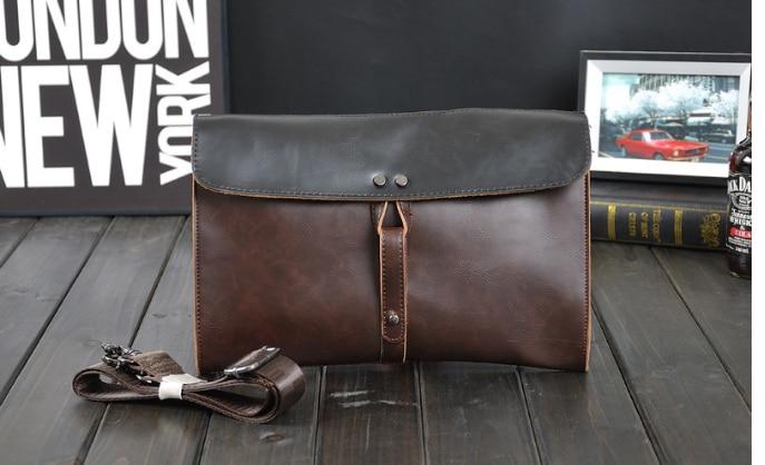 Trendy Men All-match Mini Briefcase Dapper Mixed Colors Leather Bag Mens Casual Simple Envelope File Bags Bolsa Hombre DF329