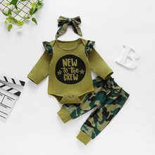 3 Pcs Baby Girl Clothes Set Military Green Print English Letterstops+Camouflage Pants+ Headhand Toddler Girl Outfit