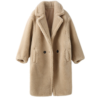 2019 Winter New Fashion Womens Teddy Bear Icon Coat X Long Real Sheep Fur Oversized Parka Thick Warm Outerwear C915