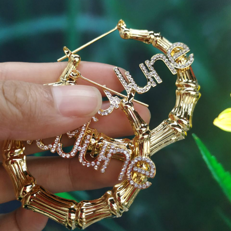 Stainless Steel Bamboo Hoop Earrings Ice Out  Earrings Diamond Customized Name Earrings hoops Personalized Jewelry For Women