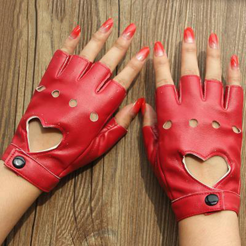 Leather Gloves Luvas Guantes Mujer For Women Girls Multicolor Red Balck White Loving Solid Heart Mittens