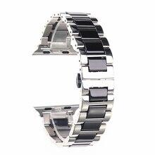 Para Apple Watch accesorios Iwatch Correa 42 40 44mm Serie 3 4 5 oro rosa Acero inoxidable negro blanco plata y bandas de cerámica