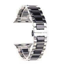 Pour Apple Watch accessoires Iwatch bracelet 42 40 44mm série 3 4 5 or Rose noir blanc acier inoxydable argent et bandes en céramique
