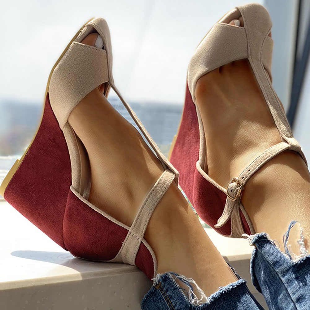 Doratasia New Wholesale Women Shoes Woman Top Quality Elegant Wedges High Heels Summer T-strap Sandals Female