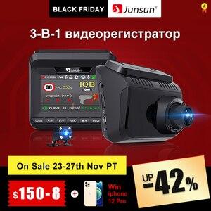 Junsun Car Video Recorder Radar Detector GPS 3 in 1LDWS HD 1296P Ambarella AntiRadar Detector 140 Degree Angle Russian Registrar