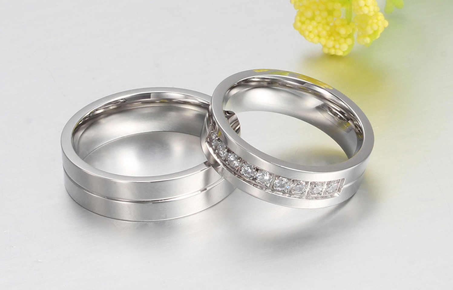 クラシック愛好家彫刻名結婚指輪女性男性カップル約束リングチタンステンレス鋼婚約ジュエリー