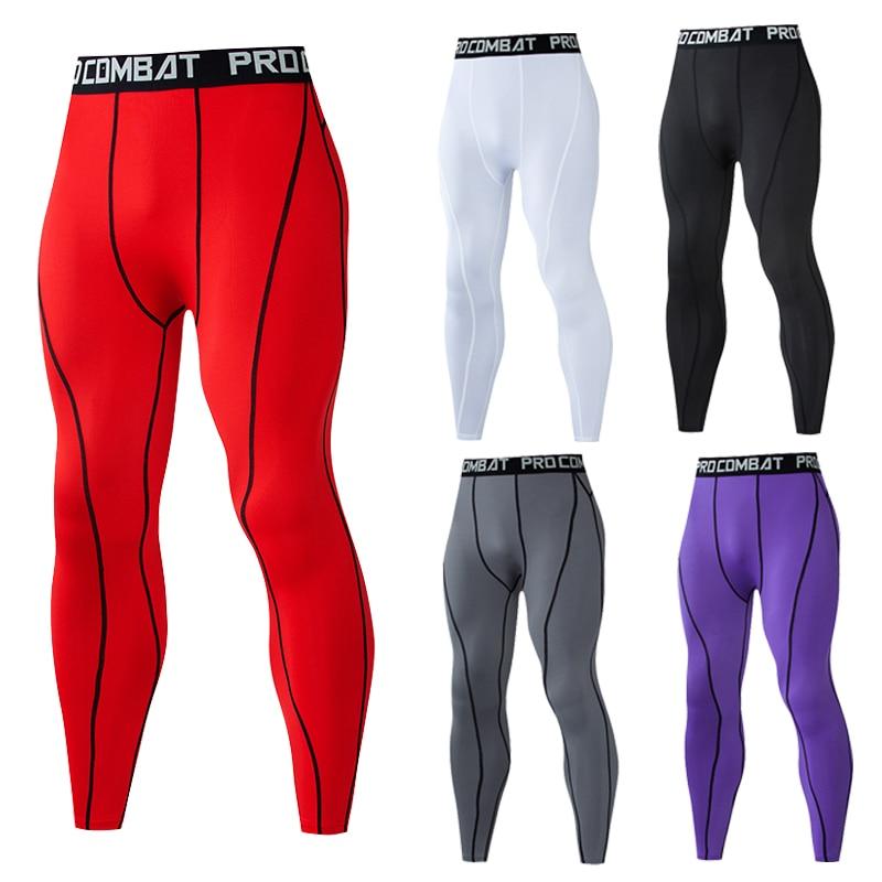 Мужские компрессионные облегающие леггинсы для бега, спорта, Мужские штаны для тренажерного зала, фитнеса, бега, быстросохнущие брюки, трен...