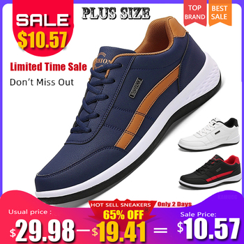 Men Business Casual Shoes PU Leather Running Fashion Lace Up Sneakers Male Outdoor Walking Jogging Sports