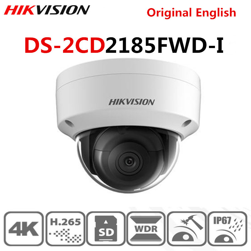 Hikvision original English DS-2CD2185FWD-I 8MP Outdoor Dome ip Camera H.265 Updatable CCTV Camera Interface security kamera image