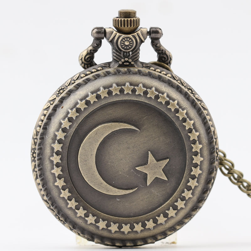 Pocket & Fob Watch Black Moon Star Design Pendant Pocket Watch for Women/Men Quartz Pocket Watch Necklace