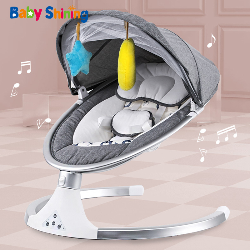 Top SaleBaby Bouncer Chair Cradle Bluetooth Newborn Smart with Belt Remote-Control Crib Calm