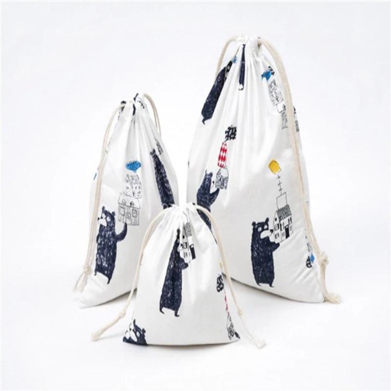 Cotton And Linen Shopping Bag Retro Vrouwen Trekkoord Boodschappentas Eco Bag Foldable Shopping Bag Fashion Print Creative