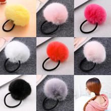 Girls Solid Soft Plush Ball Elastic Hair Bands Ponytail Holder Headband Rope Scrunchie Accessories