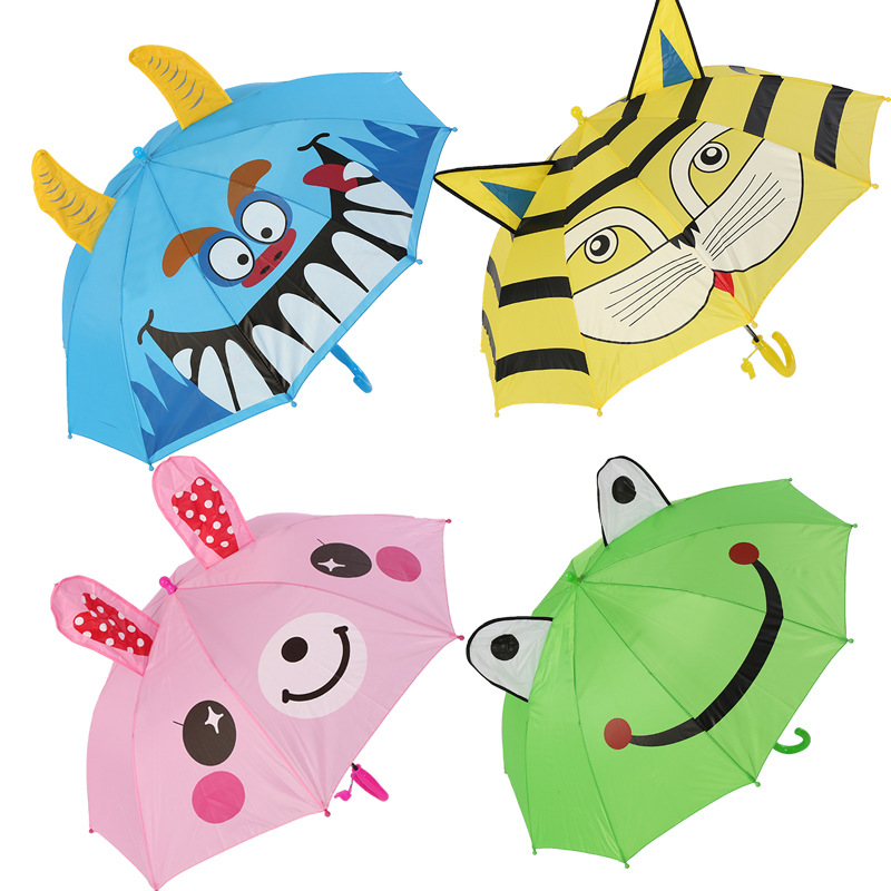 3D Animals Print Cute Umbrella For Boy Children Cartoon Long Handle Kids Children's Rain Umbrella Girl Child's Tools