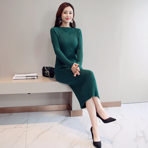 Женское платье-свитер, корейская мода, женские вязаные платья, зимний женский кардиган, облегающее платье, элегантные женские свитера, платья, Vestido платье женское вязаное платье платье женское трикотажное платье - Цвет: Green