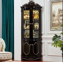 Corner wine cabinet European triangle cabinet wall corner cabinet light luxury furniture ebony