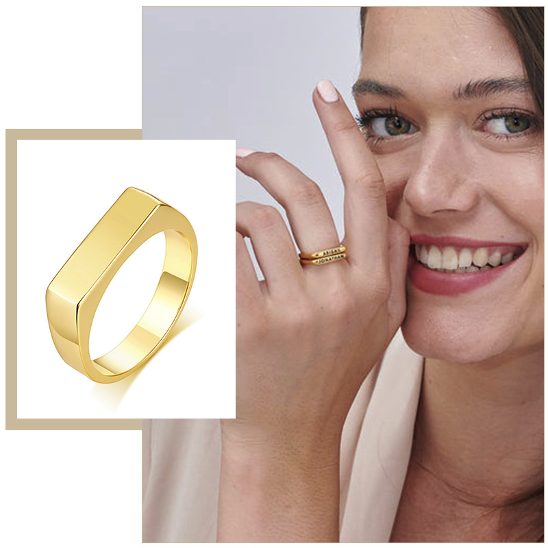Elegant 5mm Personalized Name Bar Ring for Women Gold Color Stainless Steel Signet Stamp Ring Initial Custom Jewelry