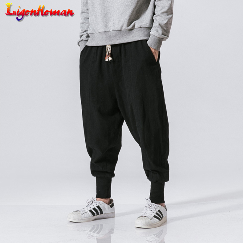 Men Streetwear Harem Pants Casual Trouser Men Japanese Jogger Sweatpants Linen Pencil Pants 2020 New Man Chinese Baggy Pants 5XL