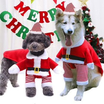 Cat Christmas Clothes Small And Large Dogs Christmas Standing Santa Transforms Pet Supplies Autumn Winter Fleece Funny Bipod image