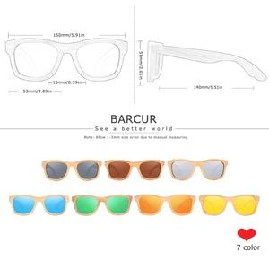 Image 2 - BARCUR 레트로 남자 선글라스 여성 편광 선글라스 대나무 수제 나무 선글라스 비치 나무 안경 Oculos de sol