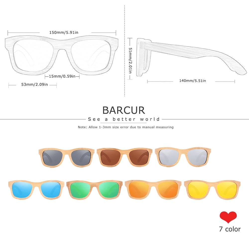 Image 2 - BARCUR الرجعية الرجال نظارات شمسية النساء الاستقطاب النظارات الشمسية الخيزران اليدوية نظارة شمسية خشبية الشاطئ نظارات خشبية Oculos دي سولsunglasses retroglasses with boxglasses with -