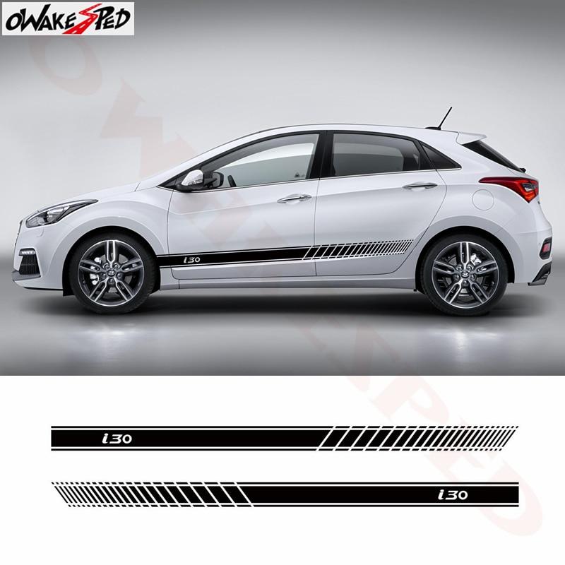 2pcs Car Door Sport Side Stripes Skirt  Decor Sticker For Hyundai I30 Fit 3-5 Door Auto Body Accessories Vinyl Decal Sticker
