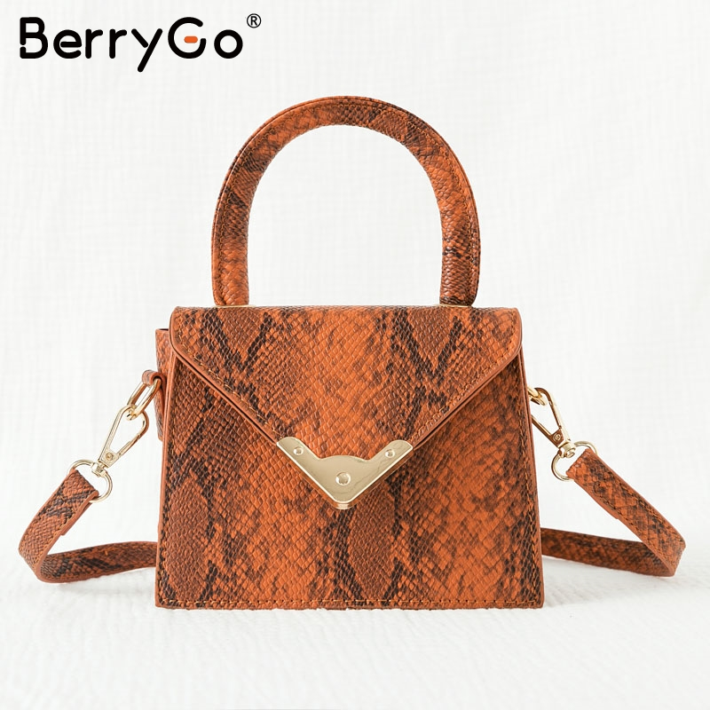 BerryGo Vintage Snake Print Leather Handbags Women Streetwear Strap Ladies Shoulder Bags Autumn Winter Elegant Square Handbag