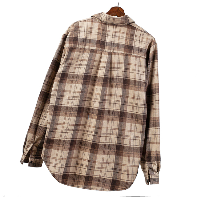 2020 Plaid Shirts Women Top And Blouses Long Sleeve Oversized Cotton Ladies Casual Blusas One Pocket Loose Female Checked Shirt 5