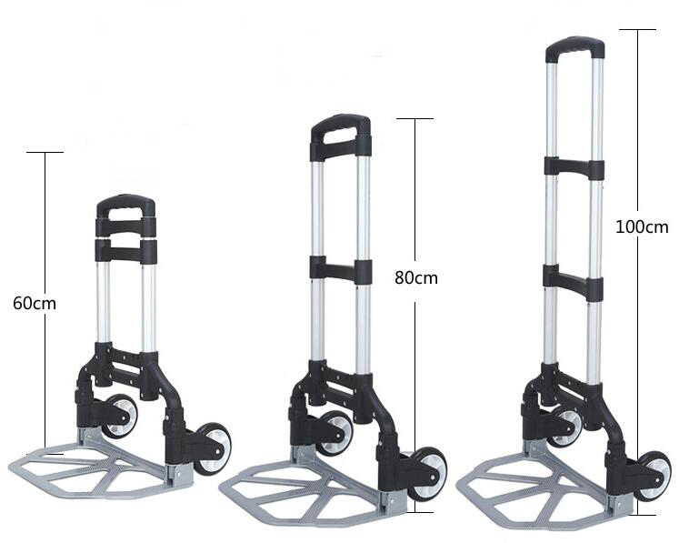 Aluminum Alloy Folding Luggage Cart  Trolley Portable Trailer Shopping Cart