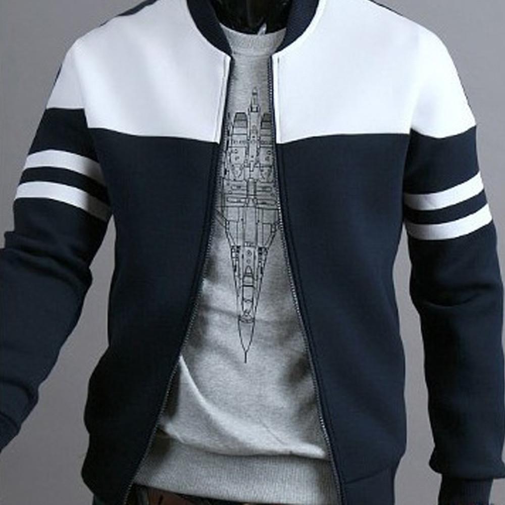 40# Fashion Men Jacket Coat Black Striped Coat Autumn Winter Zipper Sportswear Patchwork Jacket Long Sleeve Coats Женская Куртка