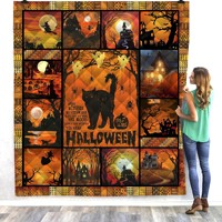 Halloween cat cute 3D Quilt Blanket For Kids Adults Bedding Throw Soft Warm Thin Office Blanket With Cotton Quilt style 1