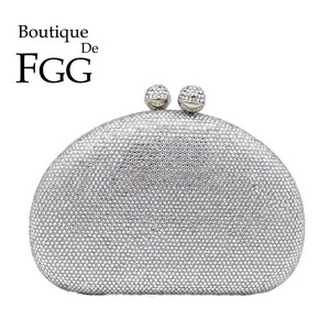 Image 1 - Boutique De FGG Elegante Argento Delle Donne Sacchetti di Sera e Pochette Dura di Caso Festa Nuziale Nuziale di Cristallo Borse e Borsette
