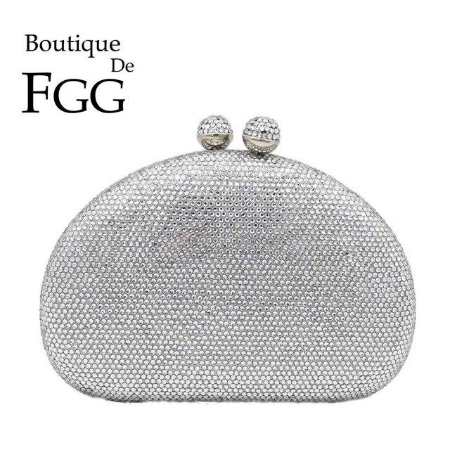 Boutique De FGG Elegante Argento Delle Donne Sacchetti di Sera e Pochette Dura di Caso Festa Nuziale Nuziale di Cristallo Borse e Borsette