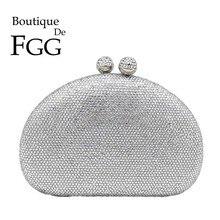 Boutique de fgg elegante prata mulher sacos de noite e garras caso duro casamento festa nupcial cristal bolsas e bolsas