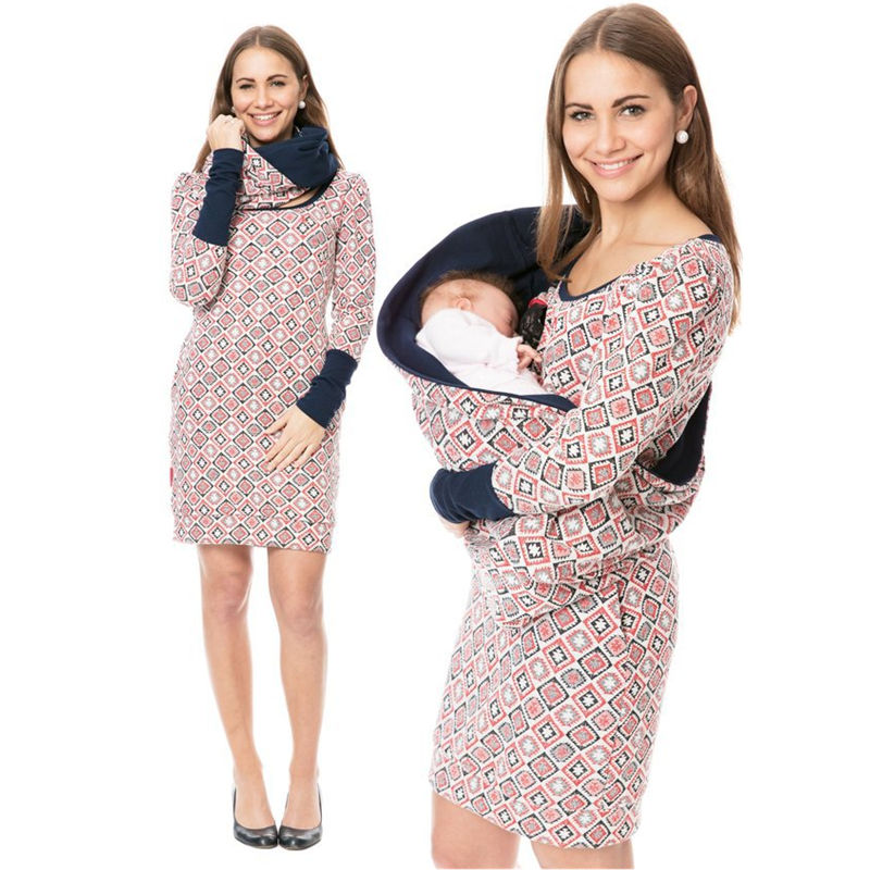 Maternity Nusring Dress Maternity Clothes For Pregnant Women 2020 Breastfeeding Long Sleeve Print Pocket Dress Ropa Embarazada