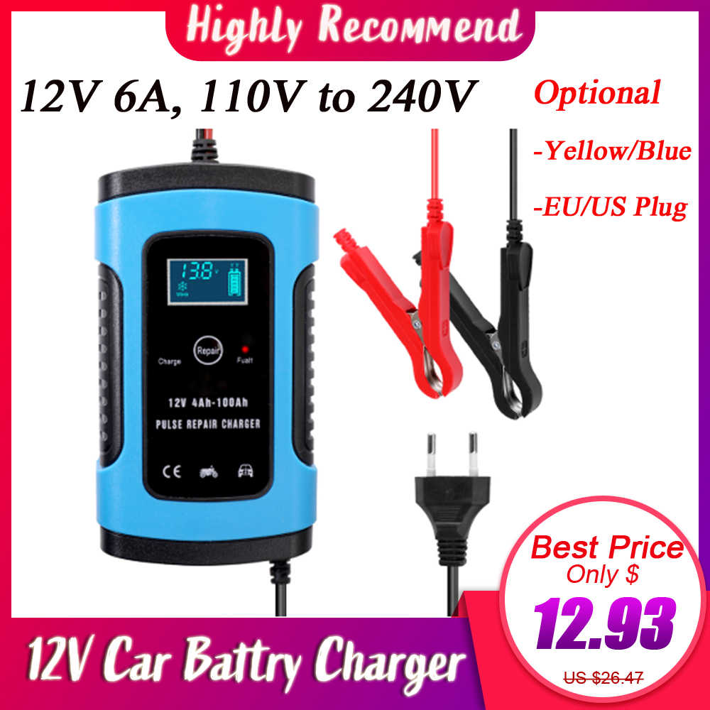 Full Automatic Car Battery Charger 110V 220V 12V 6A Intelligent Fast Power Charging Pulse Wet Dry Lead Acid  Digital LCD Display