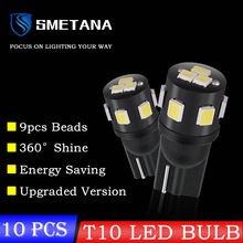 10pcs סמטנה T10 LED רכב פנים אור LED W5W T10 194 פנים נורות קריאת לוח מחוונים הנורה צלחת מספר הנורה לויה מנורה