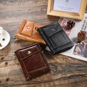 Image 5 - Yeni RFID koruma hakiki deri erkek cüzdan bozuk para cüzdanı küçük kısa kart tutucu zincir portföy Portomonee erkek cüzdan cep